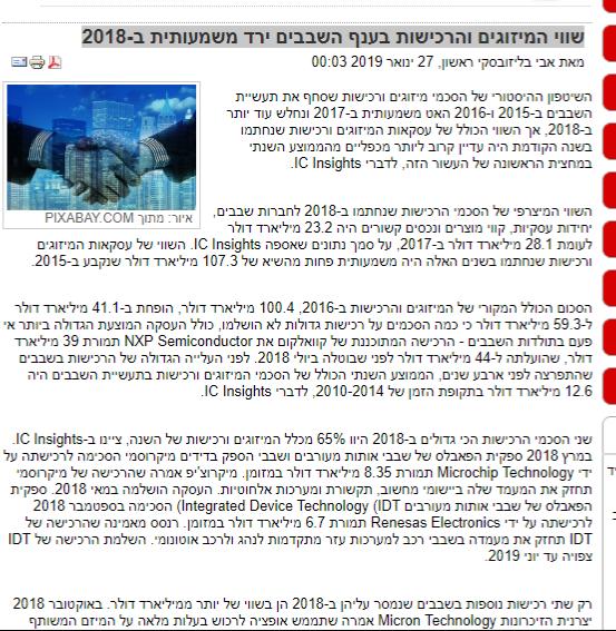 שווי המיזוגים והרכישות בענף השבבים ירד משמעותית ב-2018